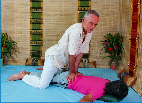 In Thai Massage the therapist works with body weight