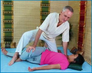image of Thai massage upper body twist