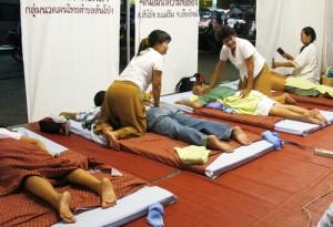 image of open air Thai massage shop in Thailand