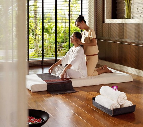 Thai massage in spa setting