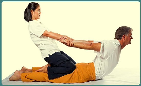 Thai Massage uses many yoga-like stretches