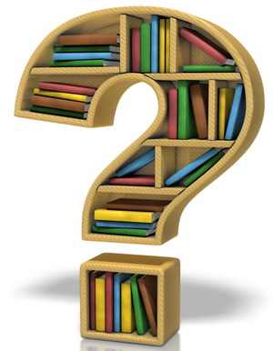 question mark bookshelf