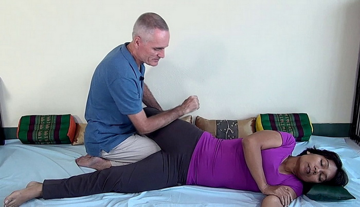 Thai Massage hip flexor stretch