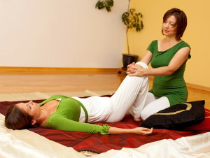 Thai Massage hip traction stretch