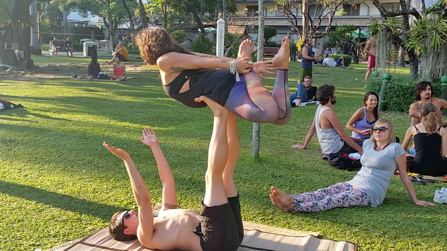 Acro yoga in Chiang Mai city park
