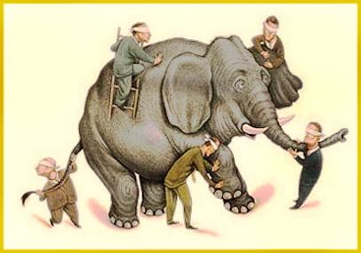 5 blind men touching an elephant