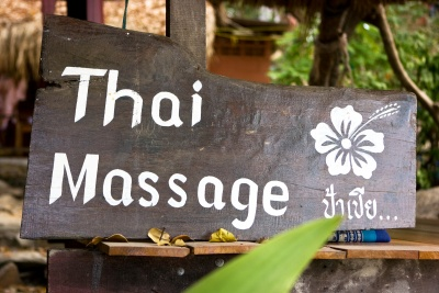 thai massage wooden sign