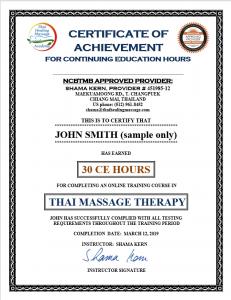 Thai Massage CEU certificate