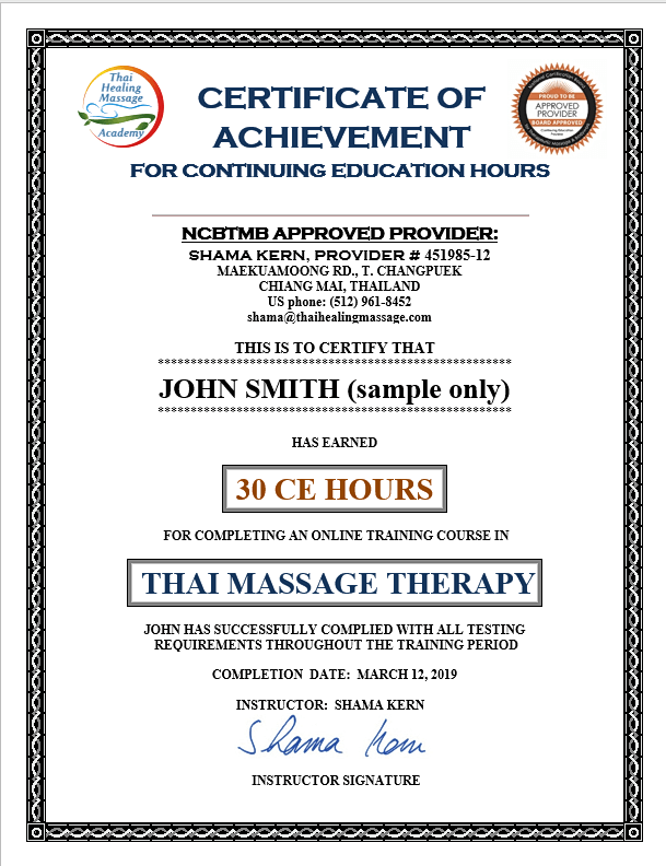 Thai Massage CEU certificate
