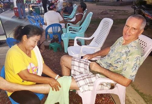 Thai Foot Massage on the street in Thailand