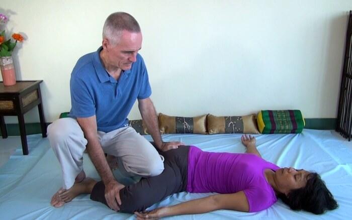 Thai Massage knee work on adductors